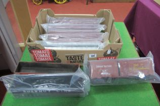 Seven 'O' Gauge American Eight Wheel Box Cars and Open Wagons, all used, unboxed.