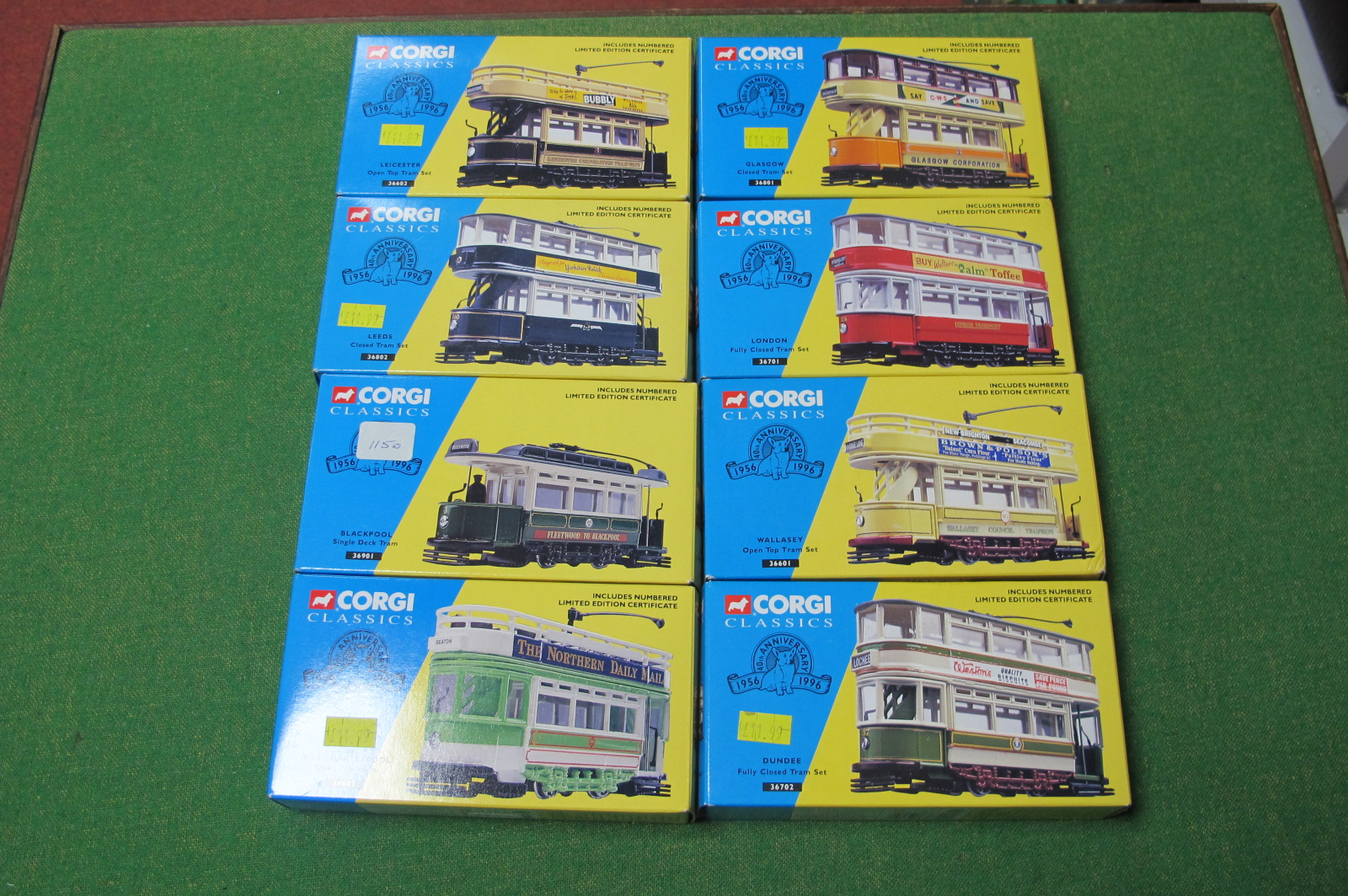 Eight Corgi Classic Trams, all boxed, all different.