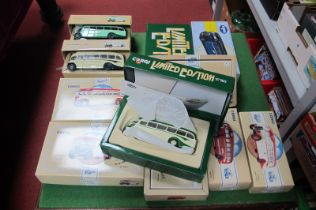 Eleven Corgi Classic 1/2 Cab Buses, including AEC Regal, Leyland Tiger, Daimler 1/2, all boxed.