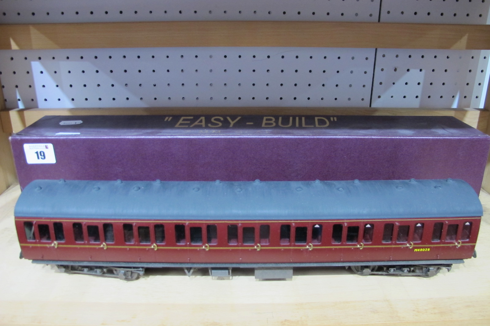 An 'O' Gauge/7mm Midland Region Easy Build Eight Wheel Coach with Interior Detail, boxed.