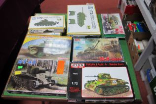 Nine Plastic Model Kits all with a Military Theme, by Dragon, 5 - Model and others, including tanks,
