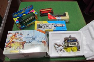 Matchbox Yesteryear London Omnibus 1886, Corgi 32304 - Beatles Bus, A Dinky Bus, plus two other