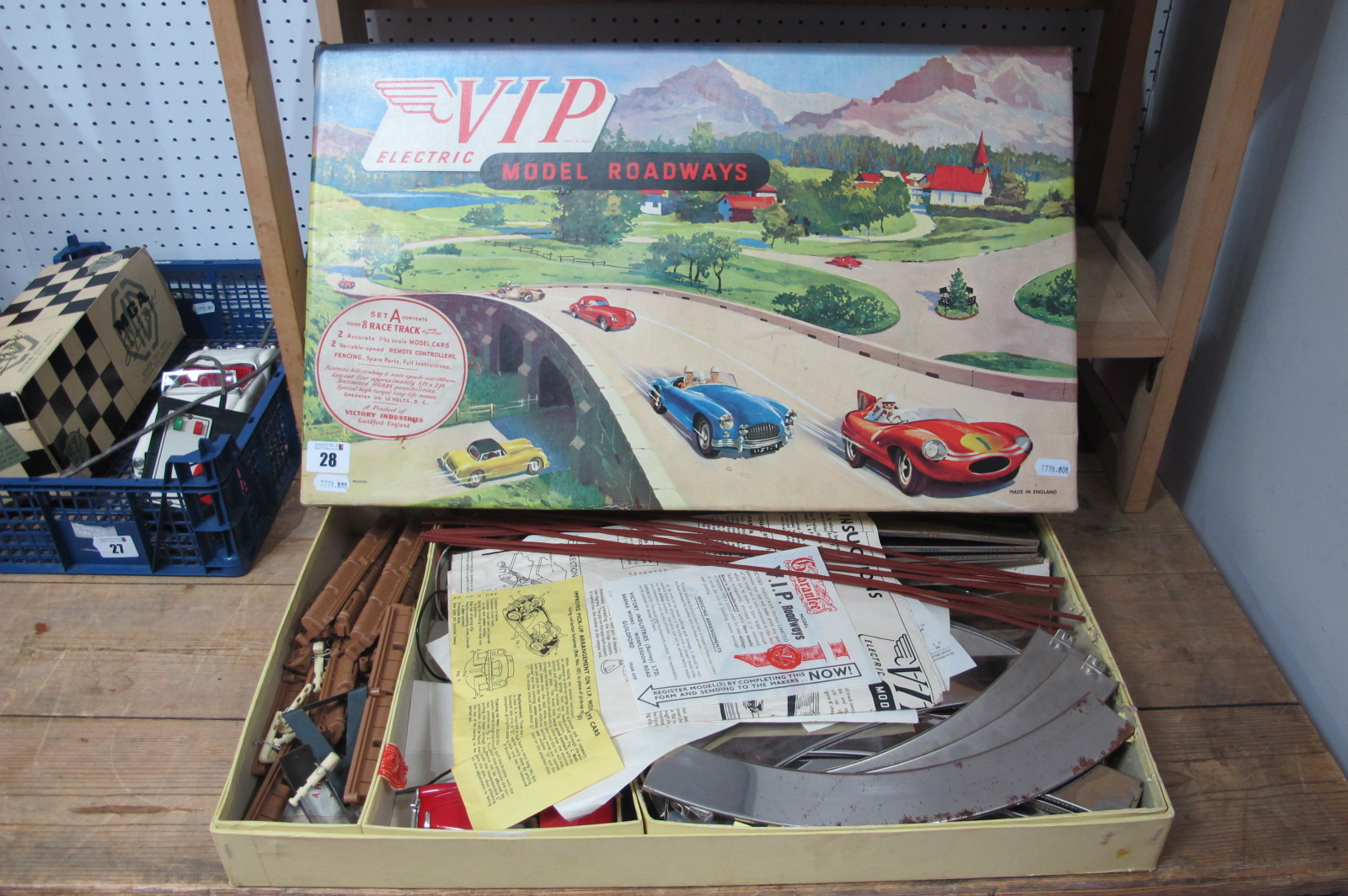 A Victory Industries Model Roadways Set, comprising Austin Healey and MGA, both cars appear