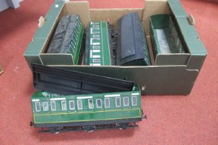 Five 'G' Scale Six Wheel Coaches, finished in green by Bachmann, wheels adjusted to narrow gauge,