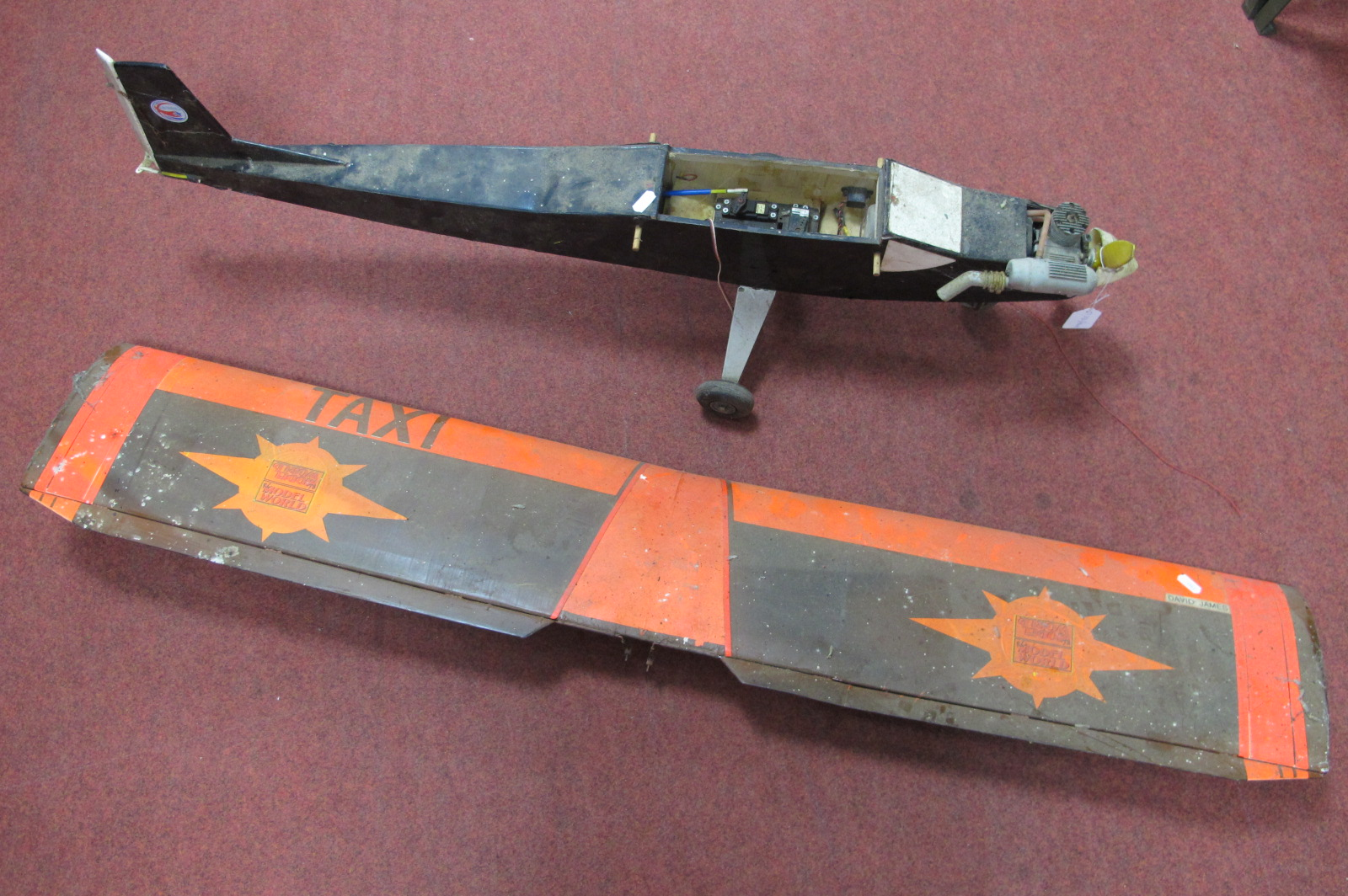 A Remote Control Aircraft, with Ripmax Servos Mounted 'Max-S SOS', petrol engine, a project piece in