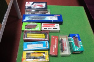 Eleven 'HO' Scale Railway Rolling Stock, by Roco, Marklin, Lima and others, mainly four wheel, used,