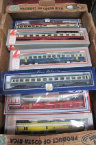 Nine 'HO' Scale Continental Eight Wheel Coaches, by Lima, various countries, liveries, all used,