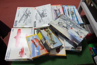 Twelve 1:72nd Scale Plastic Model Military Aircraft, by Revell, Matchbox, ICM, Encore and other, all