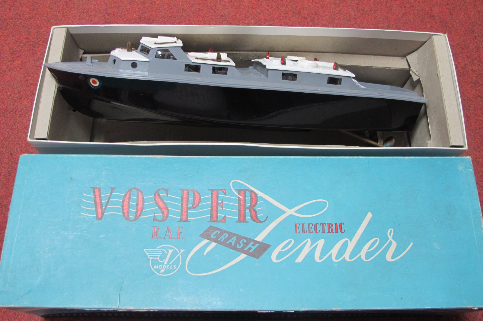 A Vosper RAF Crash Tender by Victory, appears little used but one rudder missing, boxed.