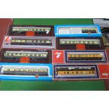 Eight 'OO' Gauge GWR Coaches, by Lima, Hornby, Airfix, various styles, playworn, boxed.