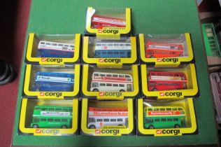 Ten 1980's Corgi Routemasters, both closed and open top, including 'Click on The Draw', all boxed.
