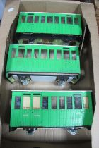Three Wooden Scratchbuilt G Scale Narrow Gauge Coaches, in need of some restoration.