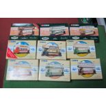 Nine Corgi Classic Trams, all boxed, all different.