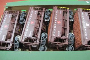 Four 'G' Scale American Outline 'Pennsylvania' Eight Wheel Hoppers, unboxed.