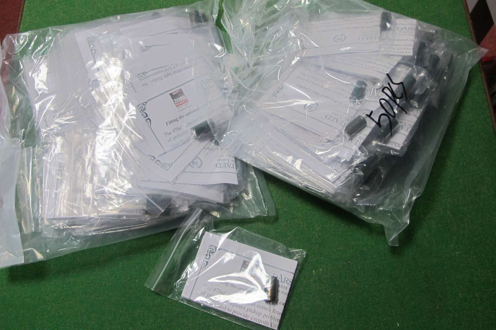 Approximately One Hundred Upgraded' Capacitors' for Darstaad MK1 'O' Gauge Coaches, help prevent