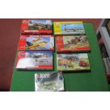 Seven Plastic Kits, six by Airfix, mainly 1:72nd scale including Hawker Typhoon, Curtis Hawker all