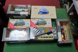 Two Corgi Classic Bedford OB Buses, including two Malta, all boxed.