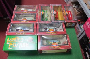 Nine Corgi Tramlines, all different, all boxed.