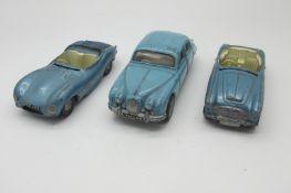Three Original 1960's Diecast Cars, by Spot-On-Austin Healey, Jaguar 3.4, Jaguar XKSS, all