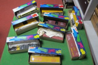 Nine 'HO' Scale American Outline Roundhouse Kits, all rolling stock, appear unstarted, boxed,