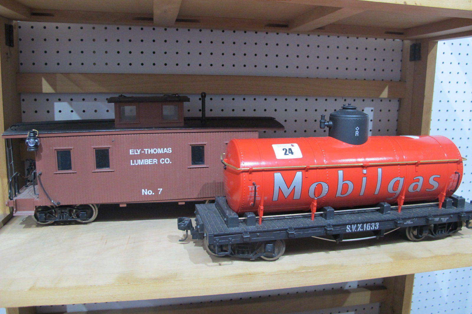 Two G Scale Eight Wheel Railway Wagons, an LGB 'Mobilgas' Tanker and a caboose, playworn.