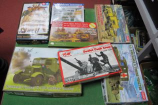 Seven Plastic Model Kits Mainly of a WWII Theme, by IBG Models, Tamiya and others, including