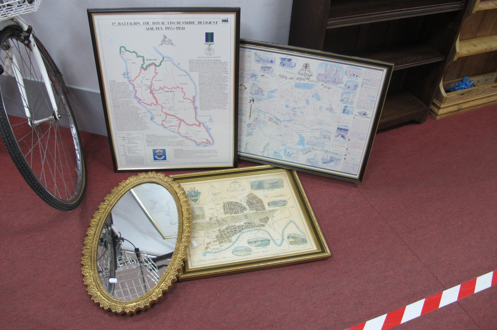 1st Batallion Royal Lincolnshire Regiment Malaya Print, Lincoln maps, oval wall mirror. (4).