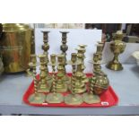 Six Pairs of Brass Candlesticks, the highest 29cm, 1924 Empire Exhibition tea caddy:- On Tray