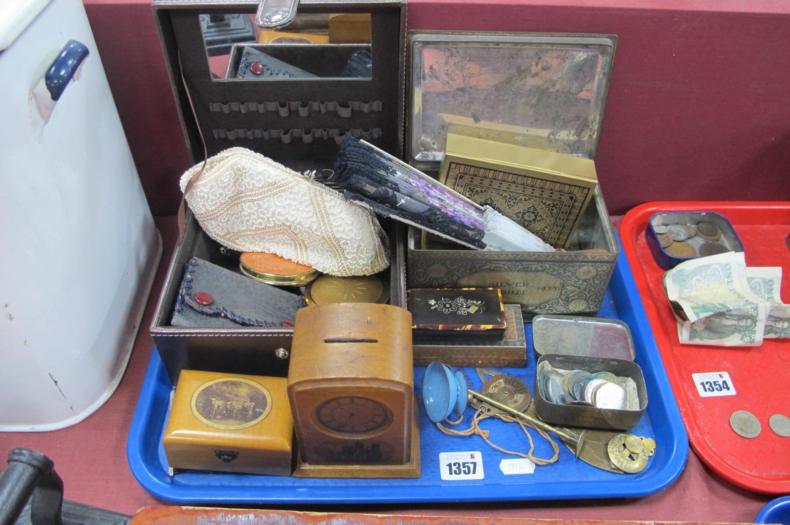 Treen York Cathedral Money Box, as a mantle clock, Gisland box, XIX Century snuff box, powder