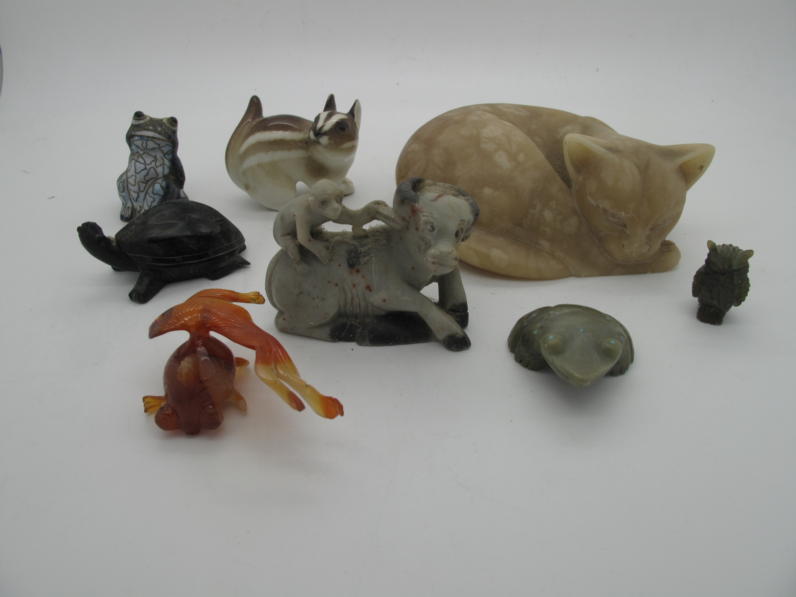 A Carved Mineral Figures of Animals, Chinese style glass figure of a bearded sage, etc:- One Tray - Image 3 of 6
