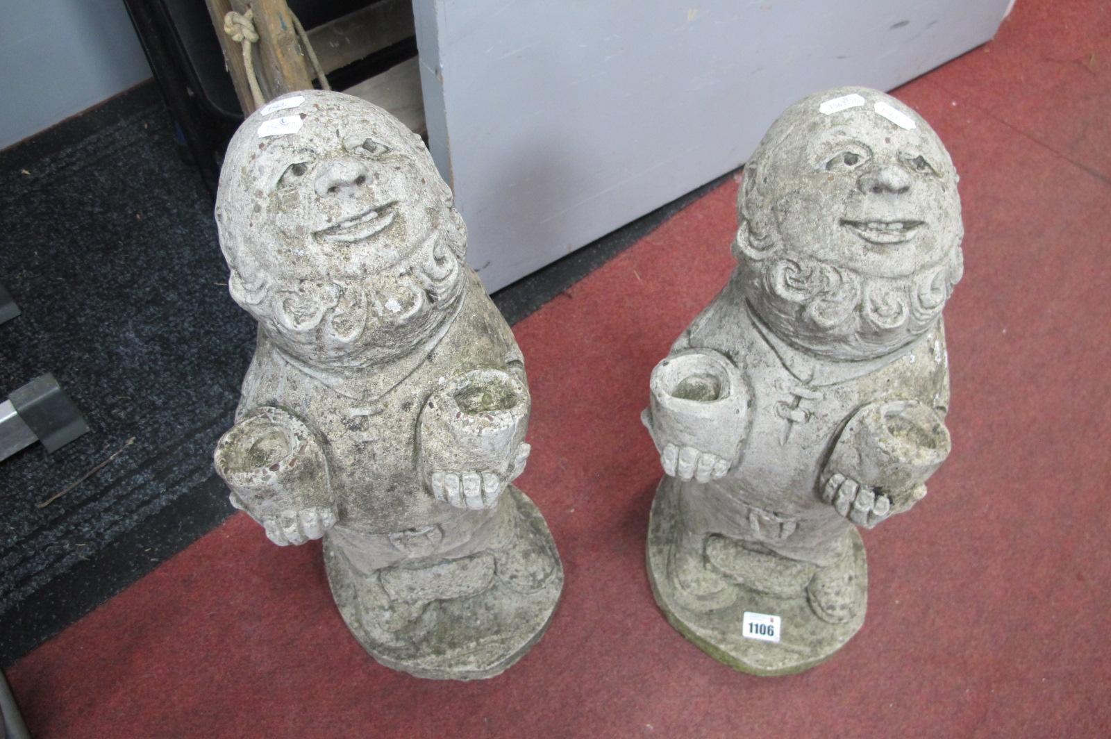A Pair of Concrete Happy Gent Figures, 47cm high.