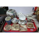 Ginger Jar, Astoria tea for two, bee farmer mug, Bass ashtrays, etc:- One Tray