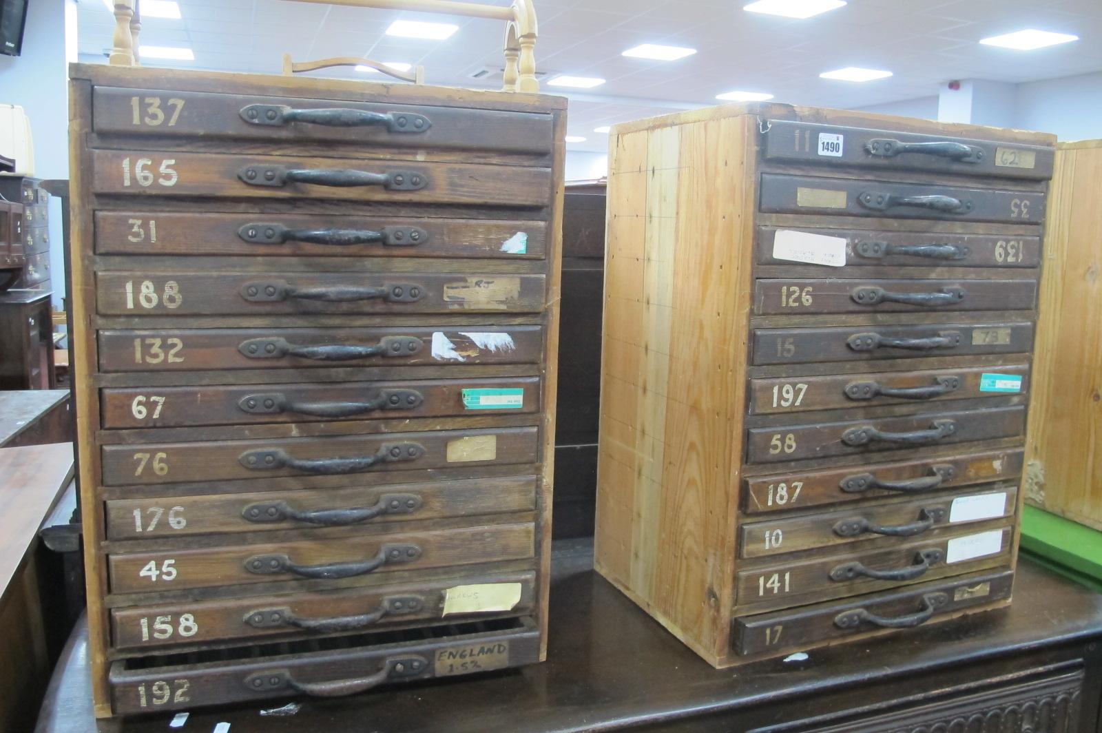 A Pair of XIX Century Pine Specimen Drawers, each having eleven drawers 60cm high x 45.5cm wide. (