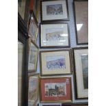 Three Terry Gorman Prints of Sheffield, Fargate, 2 x Paradise Square, singed on slip, one