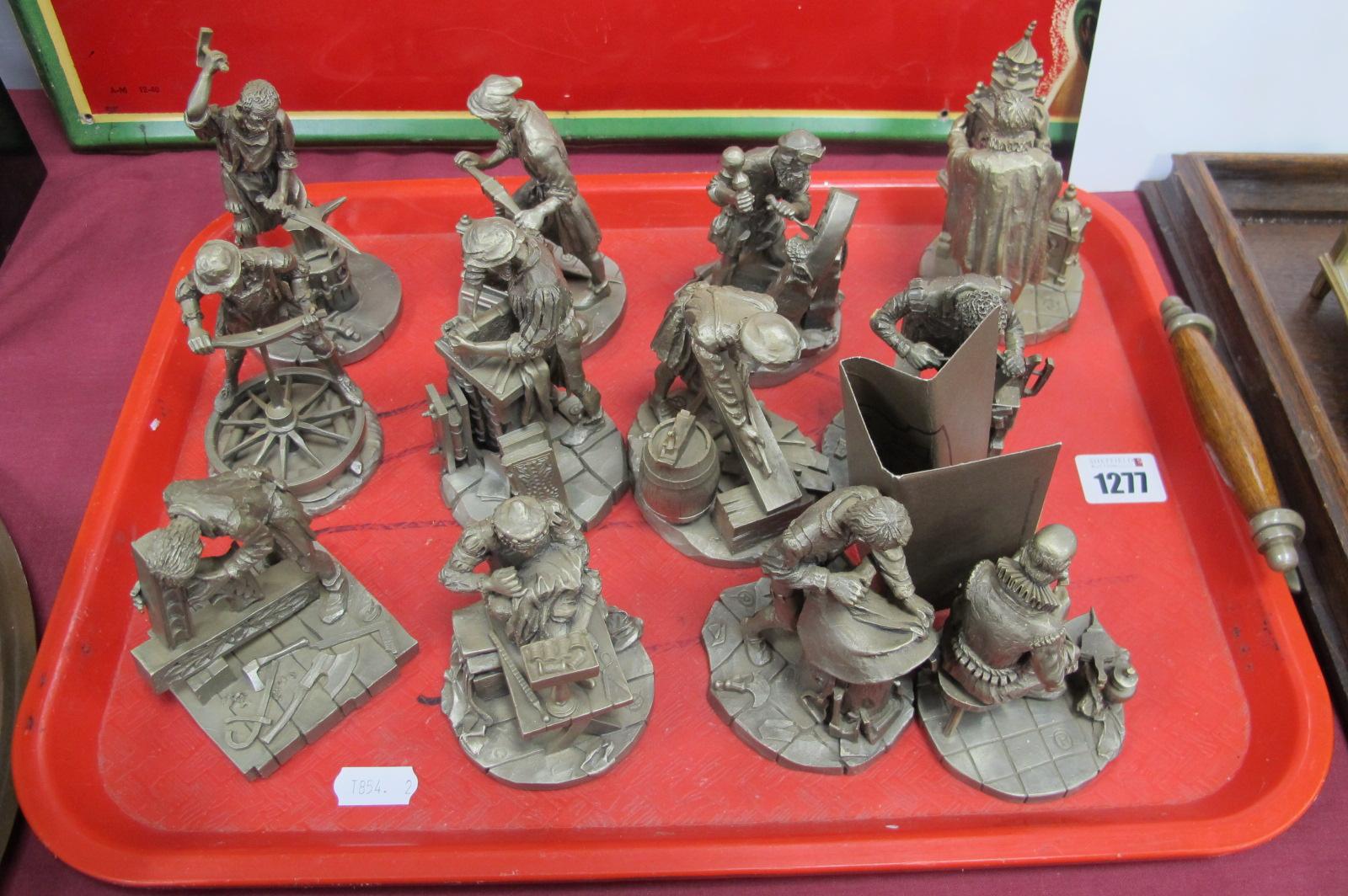 Franklin Mint Metal Craftsmen Figures 1977-79, including Anvil Worker, 12.5cm high, Bookbinder, 11.