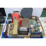 Early Golf Ball, lantern slides, Paillard Bolex C8 Camera, darts, etc:- One Tray