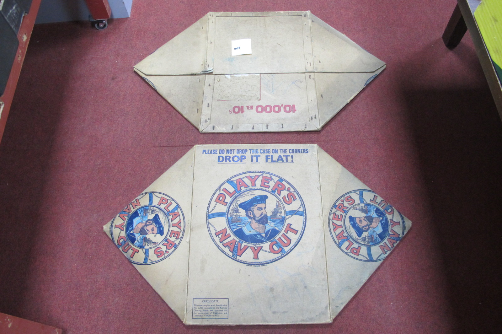 Advertising - pair of players navy cut tobacco cardboard boxes, circa early XX Century, 58cm wide.
