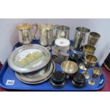 Hallmarked Silver Trophy Goblets, socle bases, plated and pewter mugs, Henry Boot & Sons 1886-1986
