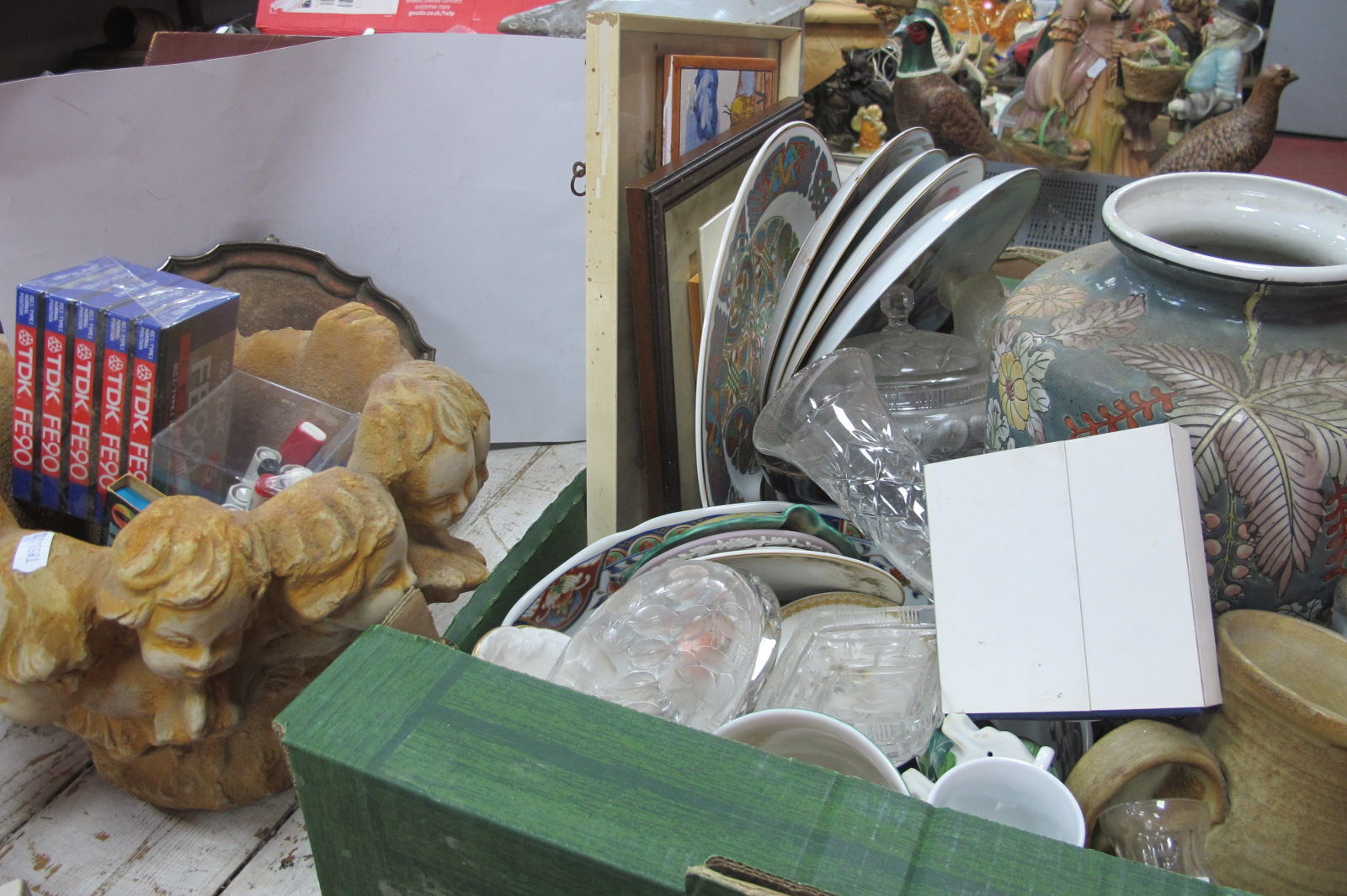 Studio Pottery Bowl, Jug, Cabinet Plates, etc:- One Box, together with a planter with cherub heads.