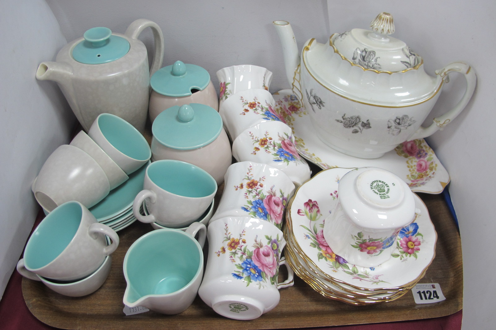 Poole Two-Tone Coffee Ware, complete with coffee pot, milk jug, sugar bowl, six saucers, seven