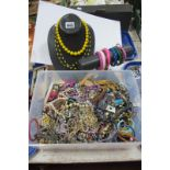 Assorted Costume Bead Necklaces and Bangles, a necklace display stand and a bracelet display stand.