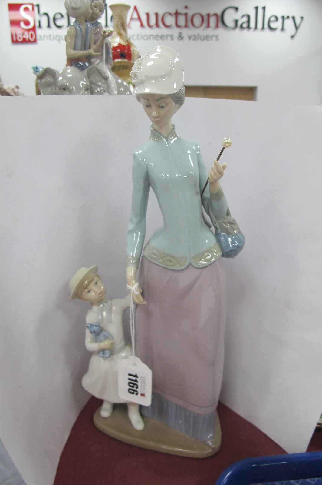 A Lladro Pottery Figure Group of Mother Holding Girls Hand, stamped H-30 S, 35cm high.