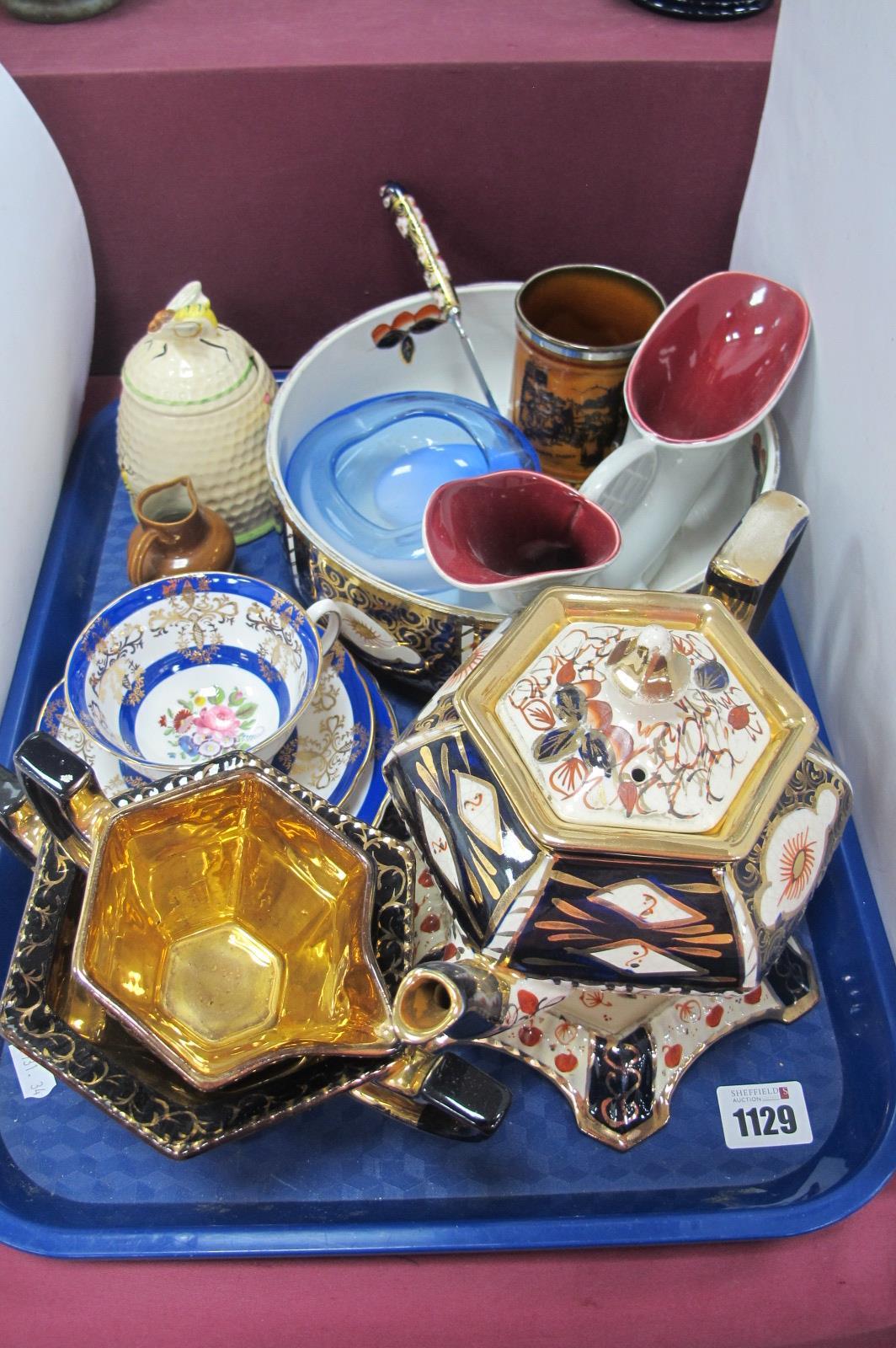 Imari Pottery Tea Service, fruit bowl and paper knife, Grafton trio, etc:- One Tray.