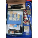 Swan Mabie Todd Ink Pens, having 14k nibs, coinage, magnifier, pen knife, etc:- One Tray.