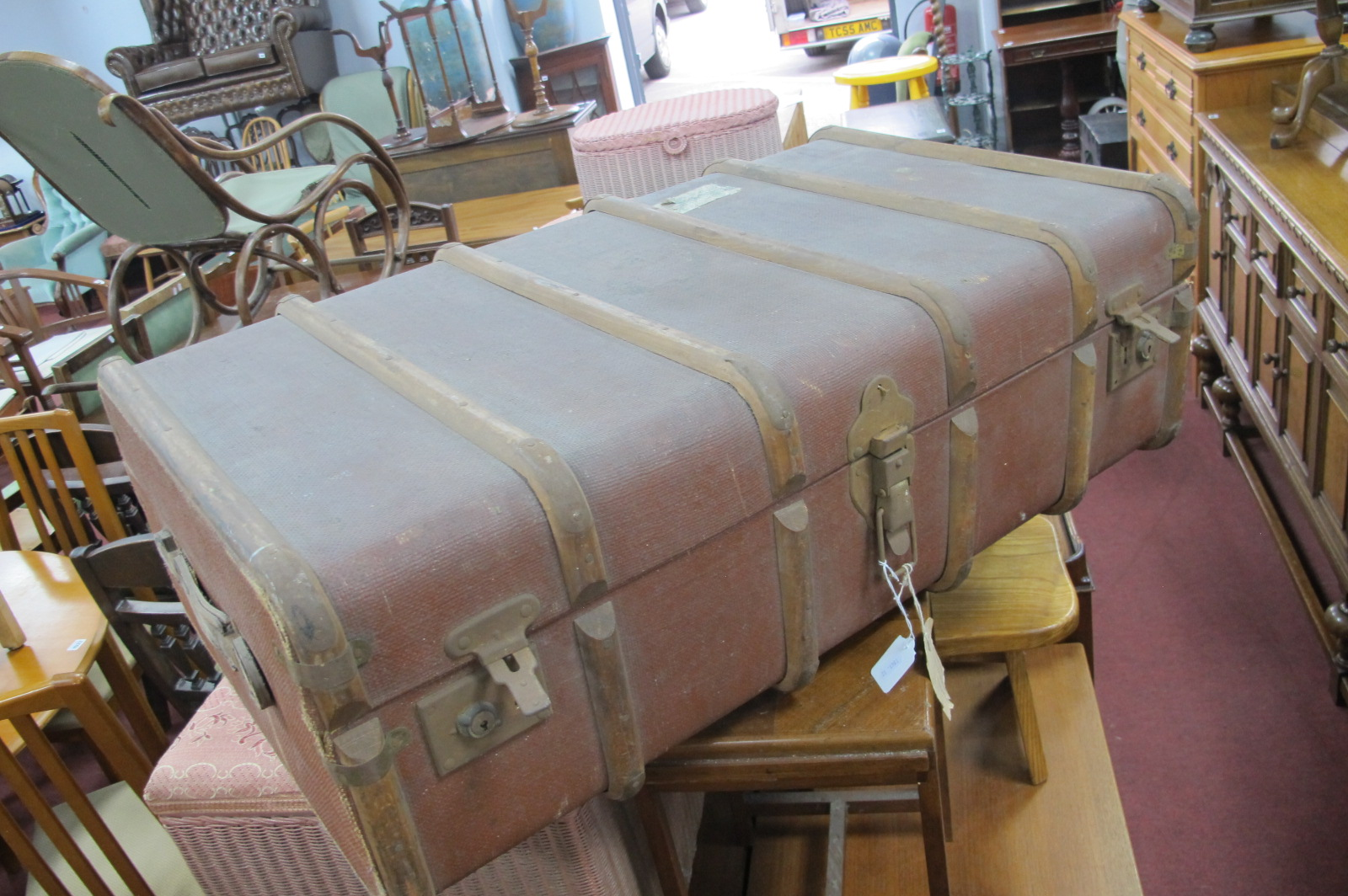 Vintage Wood Bound Steamer Trunk, with inner tray, bearing labels, including RAF Pilots label.