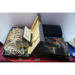 Necklaces, brooches, other costume jewellery, musical case, etc:- One Tray.