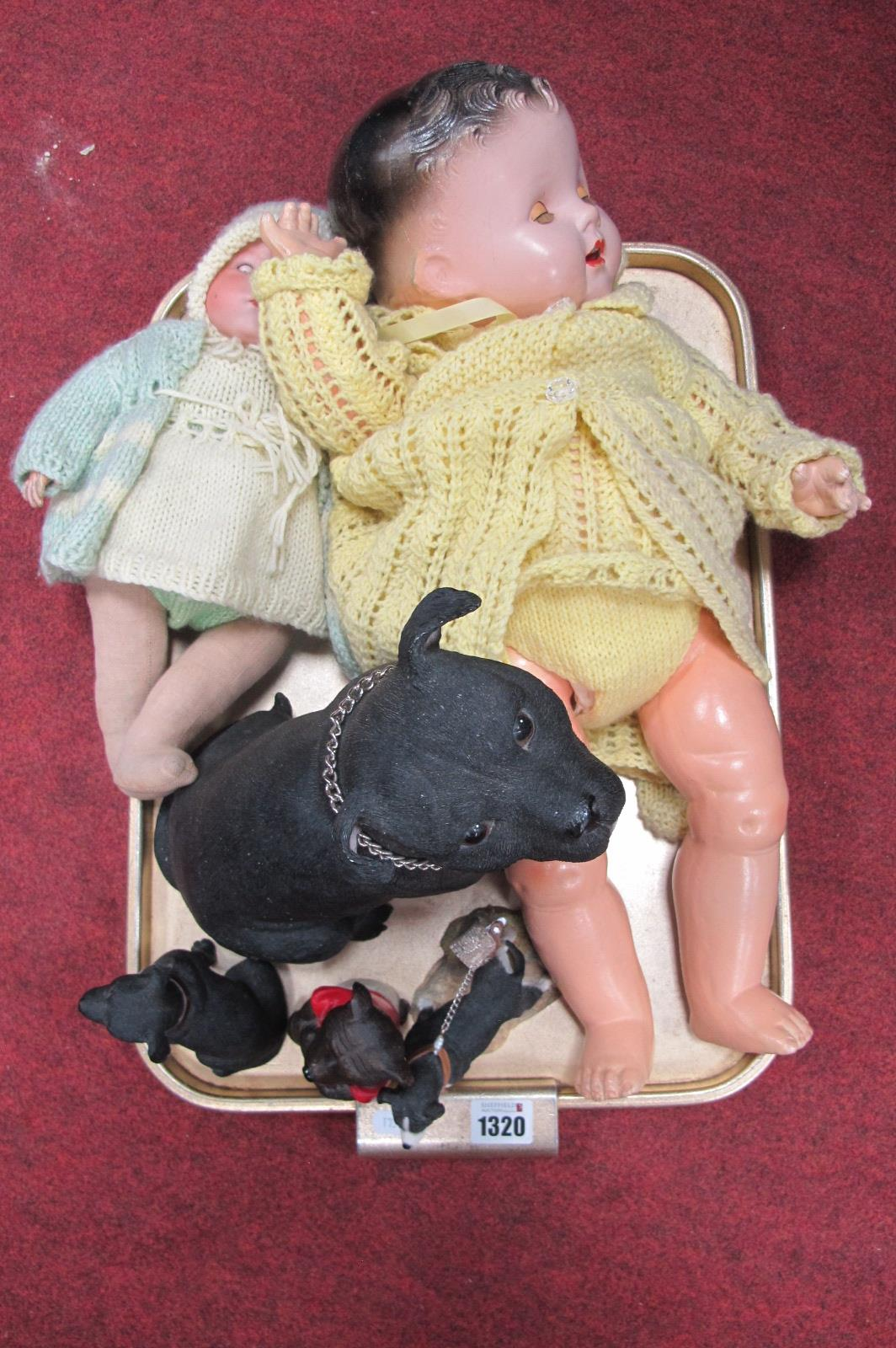A Doll Having A.M Pot Head, 'Dee an Cel' doll, resin safety dogs:- One Tray.