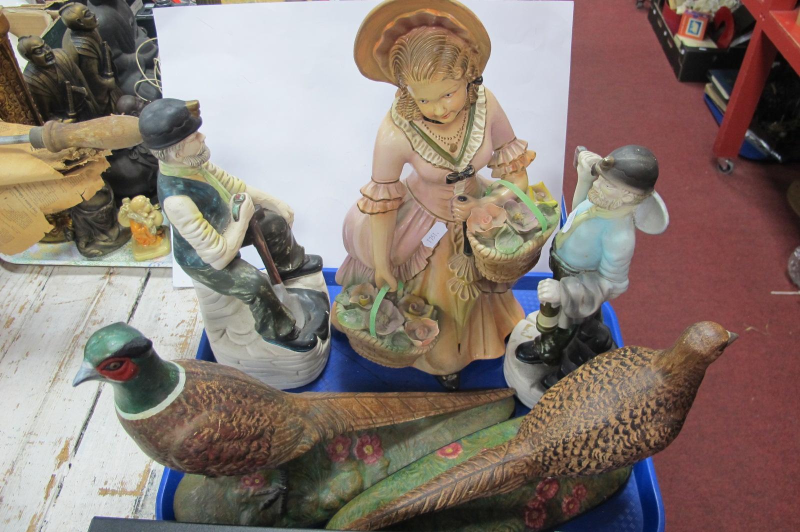 Plaster Figure of 1930's Lady, sporting bonnet, 41cm high, pottery pheasants, workmen figures:-