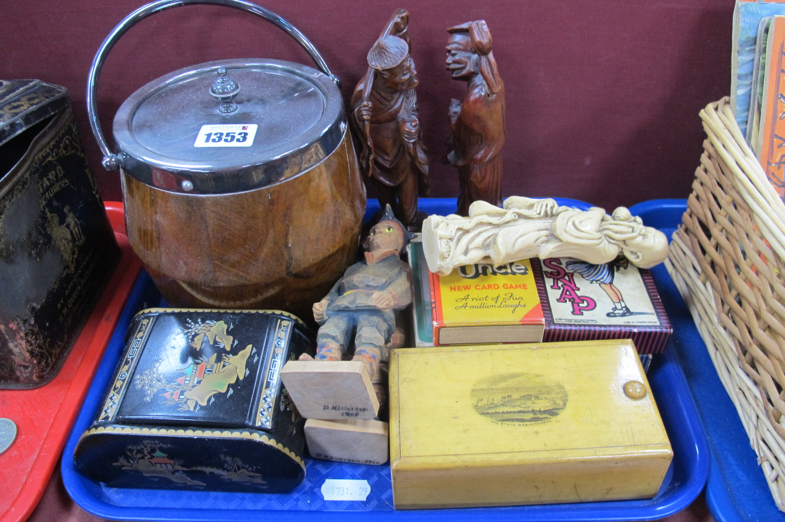 An Oak Biscuit Barrel, playing cards, carved figures, The Beach Mablethopre treen box:- One Tray.