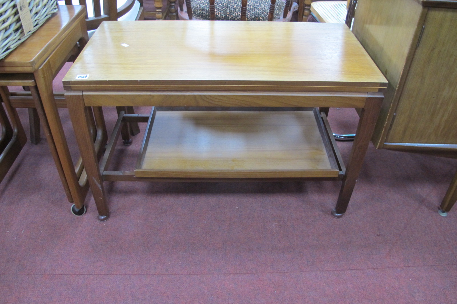 Remply Teak Fold-Over Tea Table, on straight legs with undershelf.